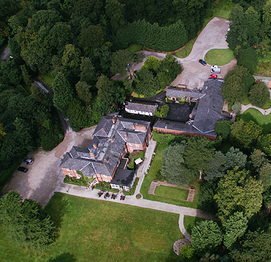 Aerial photograph of the Bartle Hall Country Hotel